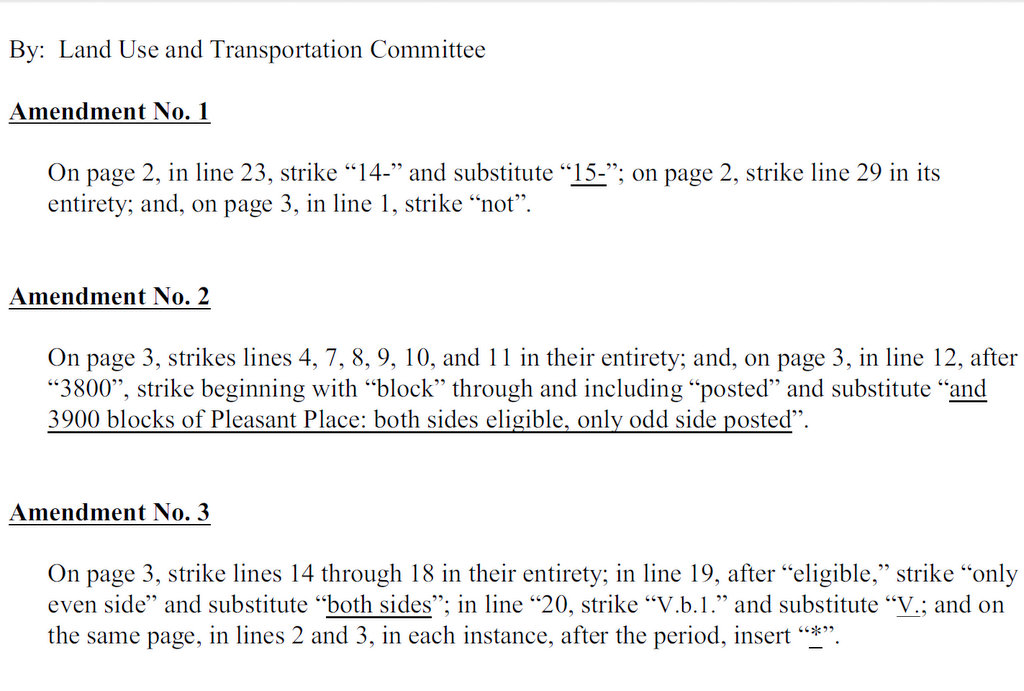 Amendments to Council Bill 14-0397, page 1. (Source: City Councilwoman Mary Pat Clarke)