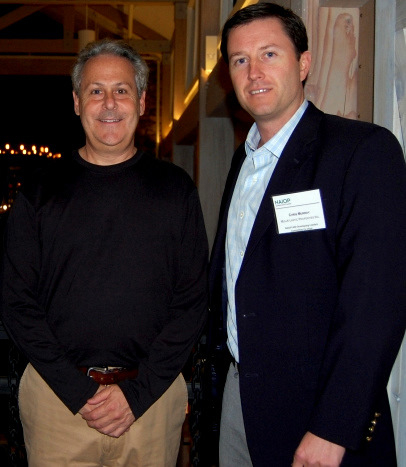 Mark Sapperstein (left) before speaking at a sold-out commercial real estate dinner last year. (NAIOP Maryland)