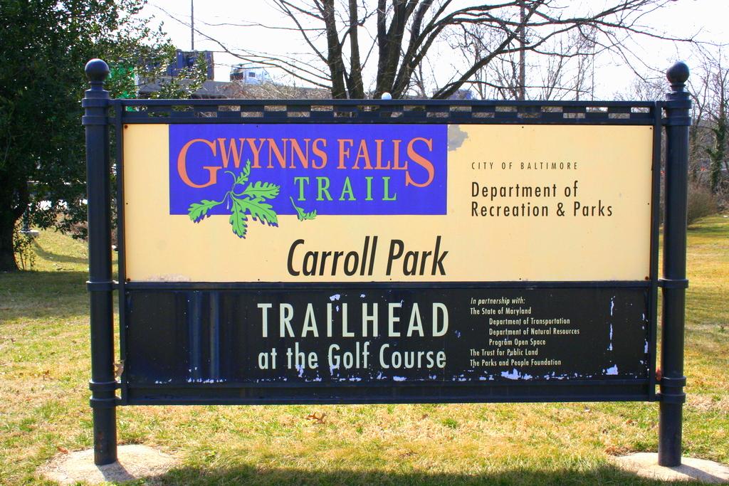 Sign for the Gwynns Falls Trailhead. (Photo by Danielle Sweeney)