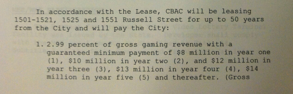 Agreement between city and Caesars Entertainment (CBAC) regarding minimum ground-lease payments. (Board of Estimates)