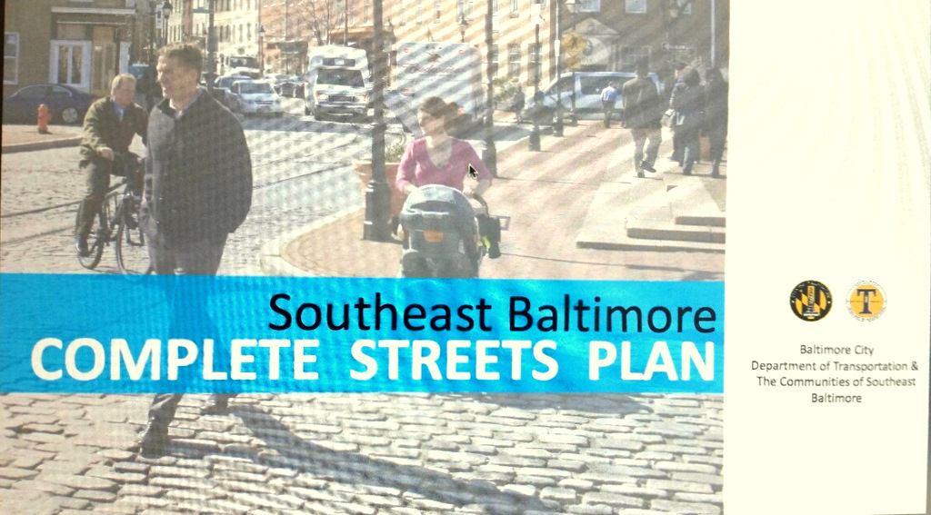 Cover of a 65-page report, issued in 2012, that described ways to discourage cars and make streets in southeast Baltimore more accessible to bicyclists and pedestrians.