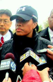 Last year, Mayor Rawlings-Blake showed up at a press conference in an Under Armour cap following the collapse of the 26th Street retaining wall. (Photo by Fern Shen)