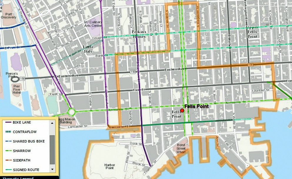 Baltimore's 2015 Bike Master Plan also includes Aliceanna as the principal bike route from downtown to Fells Point and Canton. (Baltimore DOT)