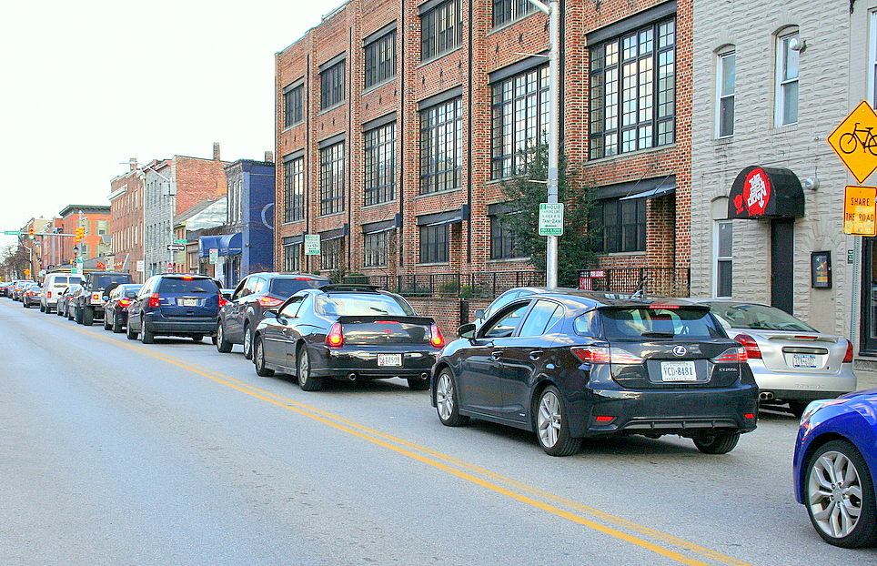 Evening rush hour on Aliceanna Street yesterday. (Photo by Danielle Sweeney)