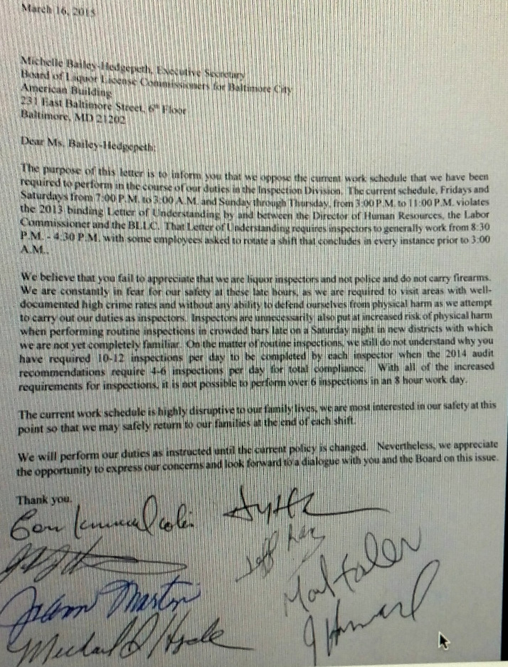 Copy of the letter by liquor board inspectors posted anonymously. The inspectors confirm the authenticity of the document.