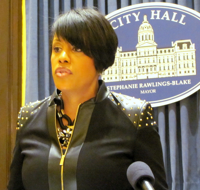 Mayor Rawlings-Blake at a recent press conference. (Photo by Mark Reutter)
