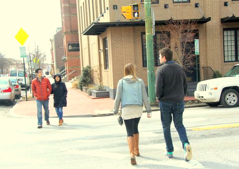 Two young couples enjoy yesterday's partly sunny skies on Aliceanna Street. (Photo by Fern Shen)