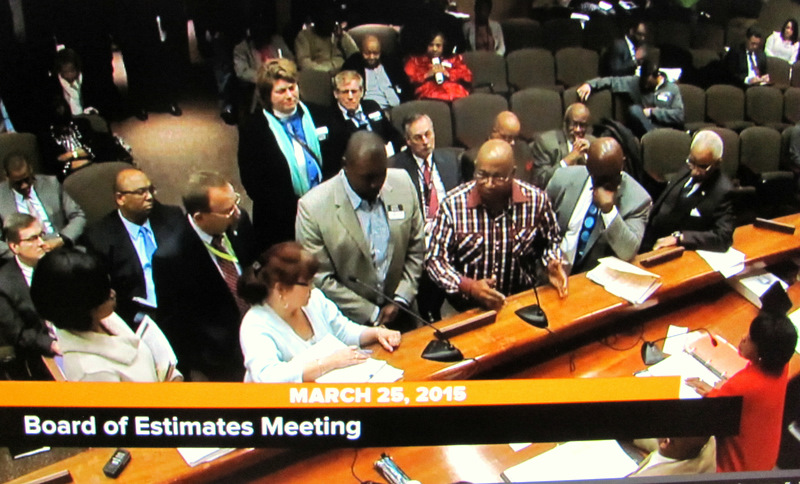 the mayor and Jack Young (both unseen) at last Wednesday's Board of Estimates meeting. (CharmTV25)
