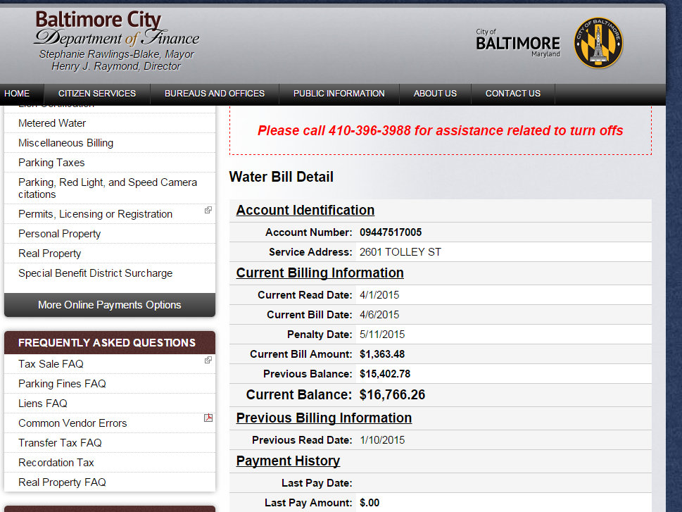 Screen shot of delinquent water bill for 2601 Tolley Street. (DPW on-line records)