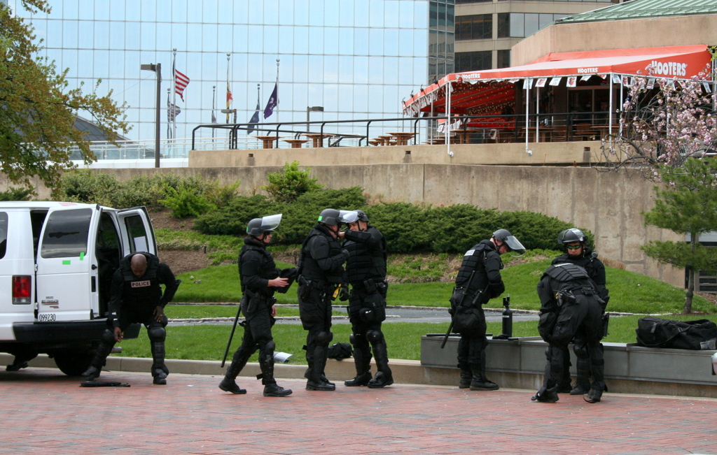 Lots of police presence at Baltimore's Inner Harbor but the action today was elsewhere. (Photo by Danielle Sweeney)