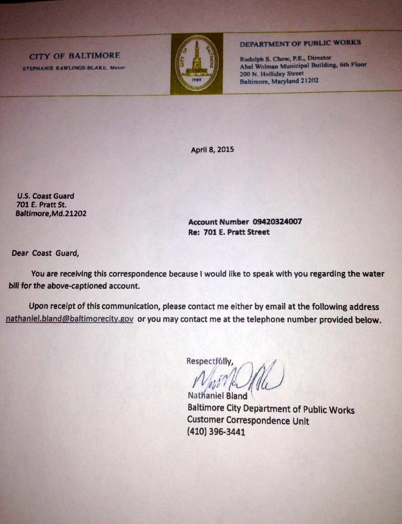 Letter from the Department of Public Works to the