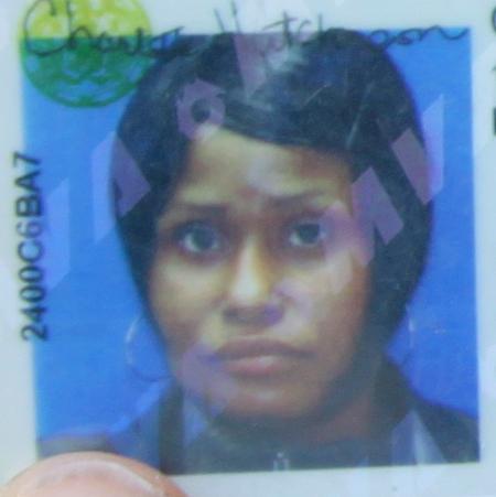 Charlotte Hutcherson's driver's license photo. (Photo by Fern Shen)