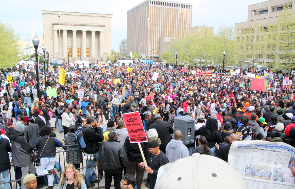 Demonstration outside War Memorial Plaza, outside Baltimore City Hall. (Photo by Fern Shen)