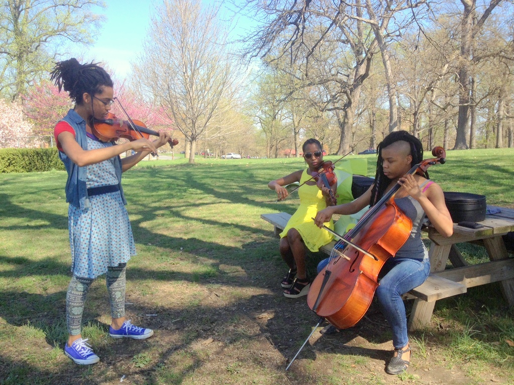 Druid Hill Park became an al fresco practice room for this string trio Saturday.