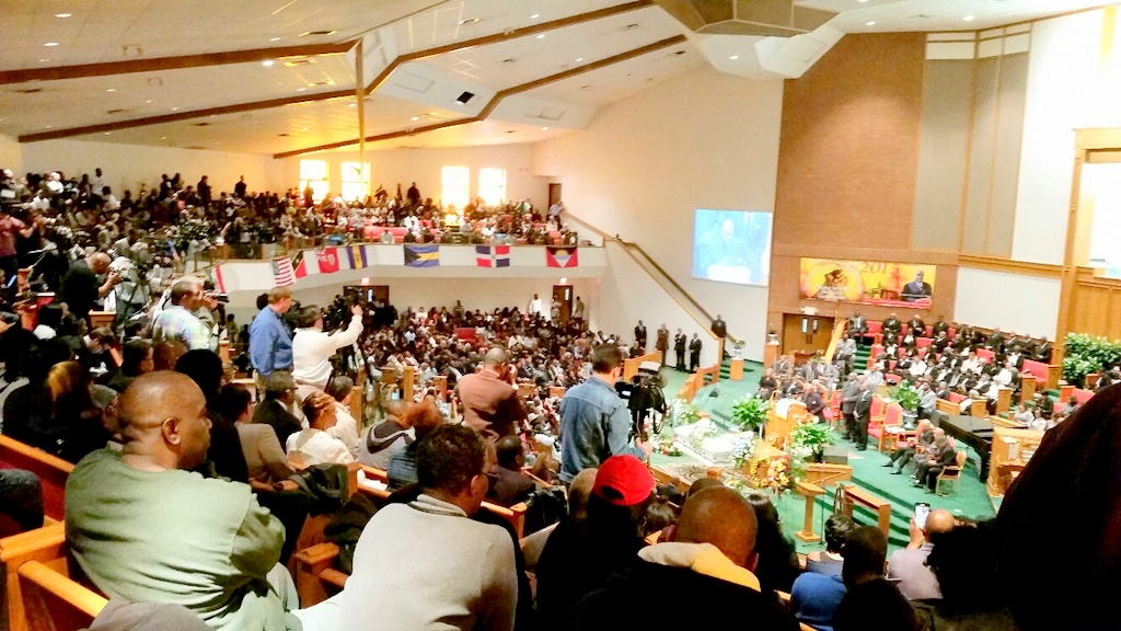 Mourners pack New Shiloh Baptist Church on Monroe Street for today's funeral of Freddie Gray. (Photo by Mark Reutter)