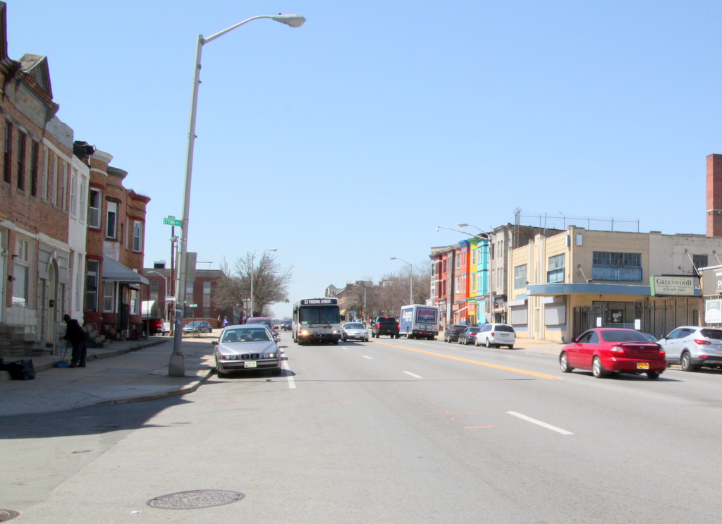 The 1300-block of West North Avenue, near the Etting Street intersection, where Hutcherson was hit. (Photo by Fern Shen)