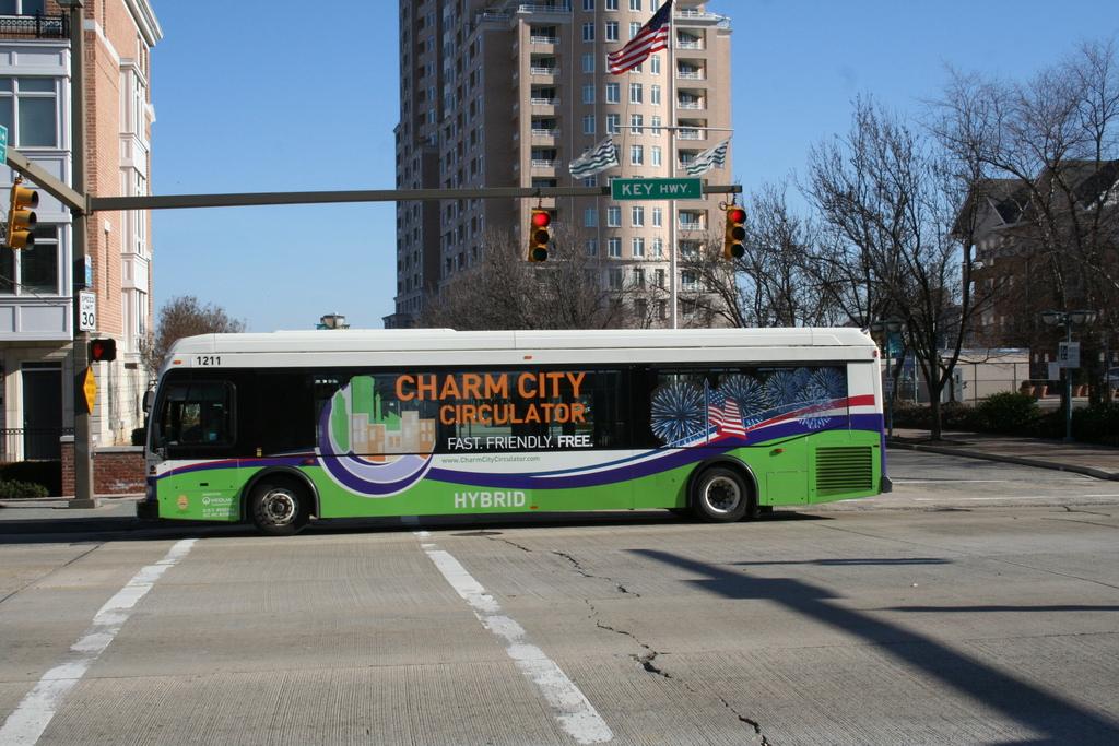 Charm City Circulator rolls down Key Highway. (Danielle Sweeney)