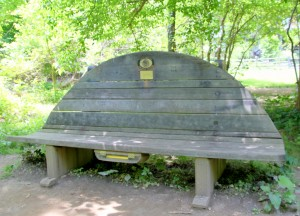 The Open Spaces, Sacred Spaces bench next to Stony Run. (Photo by Fern Shen)