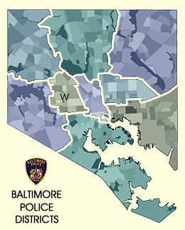 Baltimore's Western Police District is Indicated with a