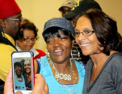 Former Mayor Sheila Dixon and a fan. (Photo by Fern Shen)