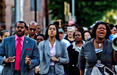 Marilyn Mosby and her husband Nick at a West Baltimore protest rally last year. (Marilyn Mosby campaign committee)