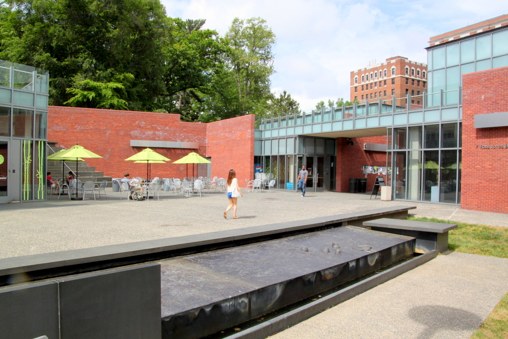 The inner courtyard of the Mattin Center. Walkway leading to Charles Street is at right. (Photo by Fern Shen)