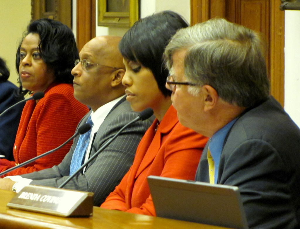 Board of Estimates members (from left) Comptroller Joan Pratt, City Council President Jack Young, Mayor Stephanie Rawlings-Blake and City Solicitor George Nilson. The fifth member is DPW director Rudy Chow. (Photo by Mark Reutter)