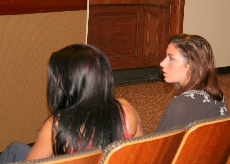 Catlin Moorhead and Katelyn Price at the Fantasies Nightclub hearing. (Photo by: Danielle Sweeney)