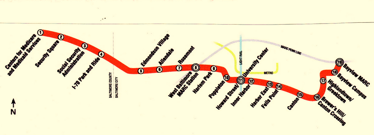 ABOVE: Route of the 14.1-mile Red Line. BELOW: part of the Red Line tunnel proposed through downtown and southeast Baltimore. (MTA, Brew mapping)