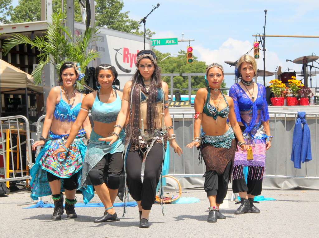The Red Tent dance troupe performs at Artscape 2013 on Charles Street. (Fern Shen)