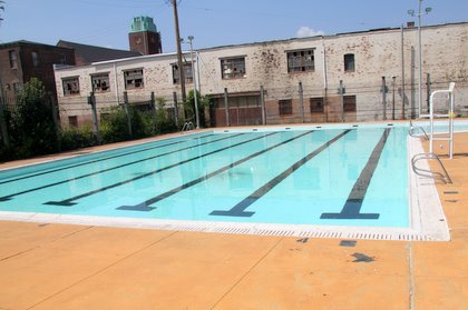City Springs Pool, a walk-to pool at 1500 East Baltimore Street. (Photo by Fern Shen)