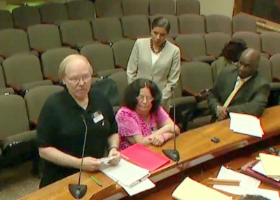 Mark and Dawn Mellett testifying before the Baltimore city liquor board. (YouTube)