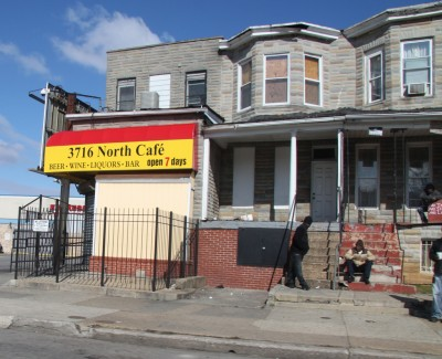 On West Belvedere Avenue, one of the non-conforming liquor stores. (Photo by Fern Shen)