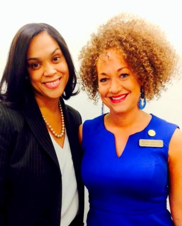 Photos Rachel Dolezal took with Marilyn Mosby (left) posted by the Spokane NAACP on Twitter.