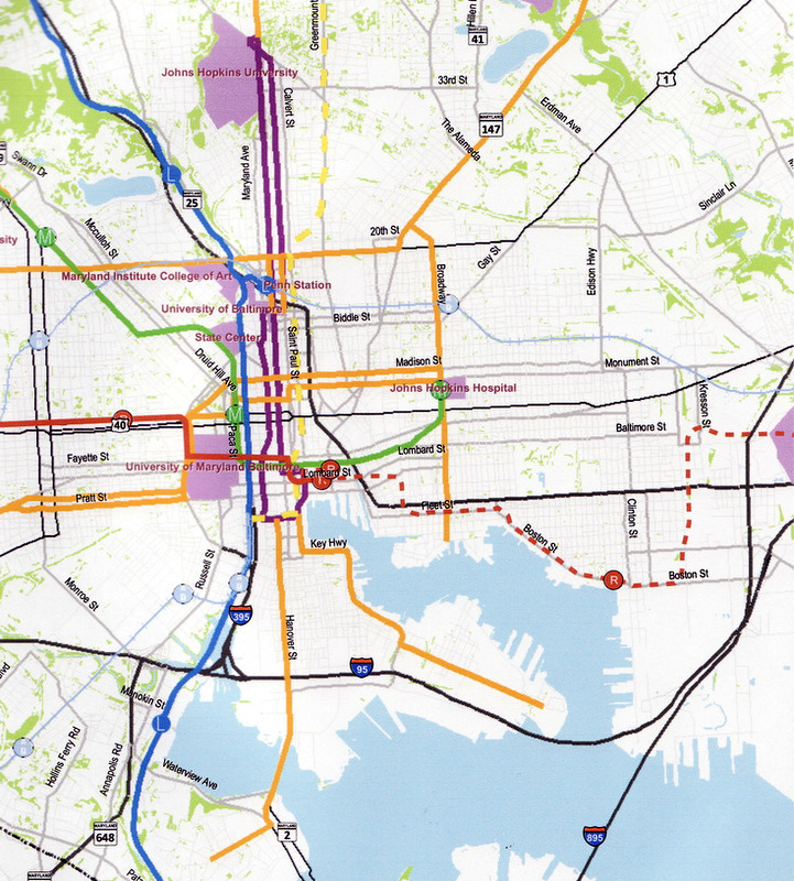 Some surface streetcar routes proposed by the Right Rail Coalition on Charles (purple), Pennsylvania (green), orange (North, Broadway and Madison) and other streets. (Right Rail Coalition)