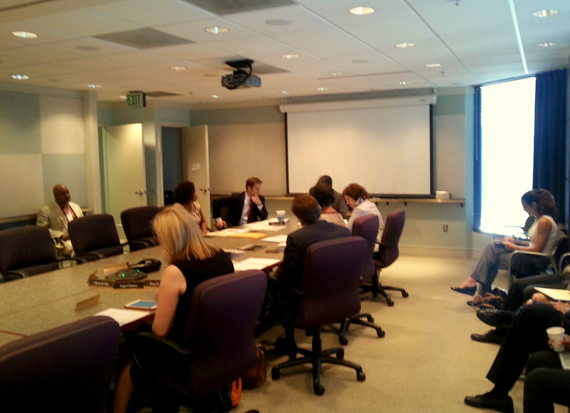 Today's BDC board meeting. Many of the members participated via a conference call. (Photo by Ed Gunts)