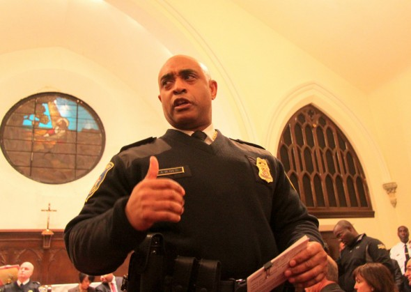 Commissioner Anthony Batts, at a community meeting in Canton in 2014. (Photo by Fern Shen)