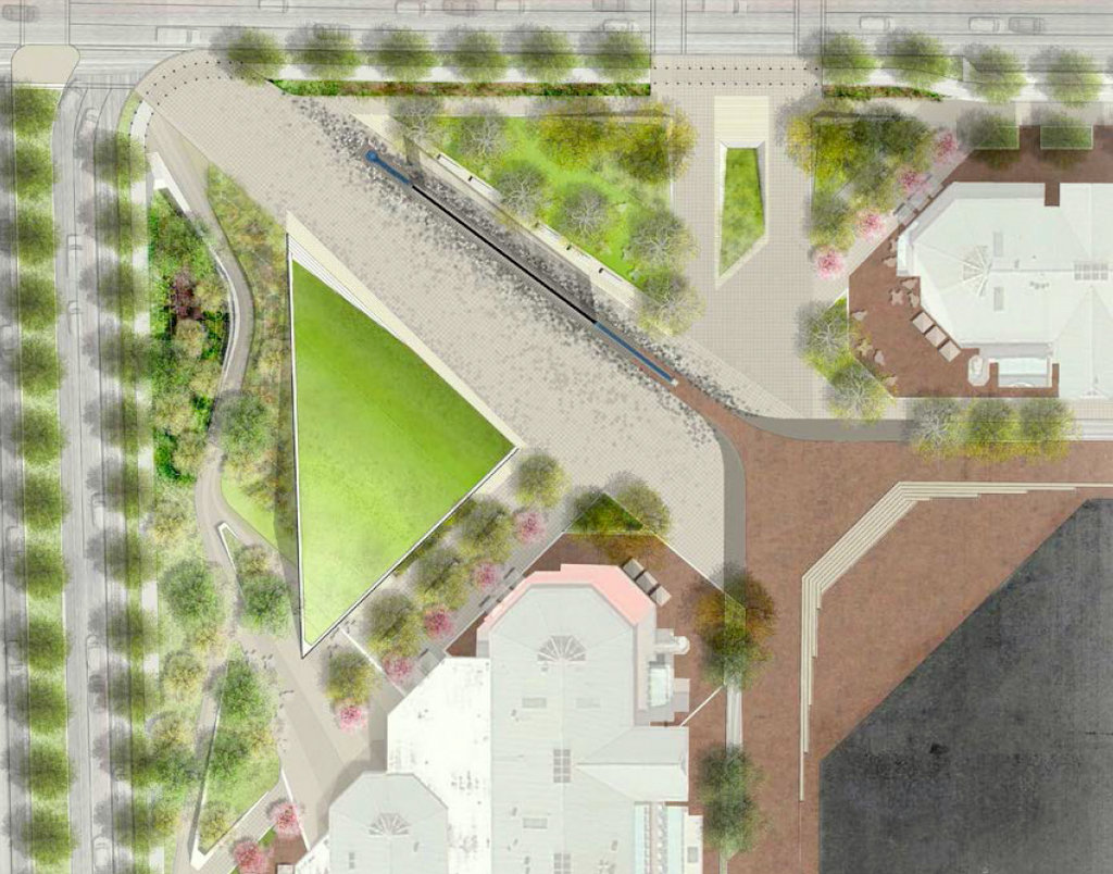 Overhead view of the proposed plaza rebuild, with fountain removed and northbound Light Street moved west of plaza. (Mahan Rykiel Associates)