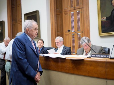 John C. Murphy asked why his clients, the citizens opposing the planned gas station and convenience store, were not being allowed to speak. (Photo by Sam Manas)