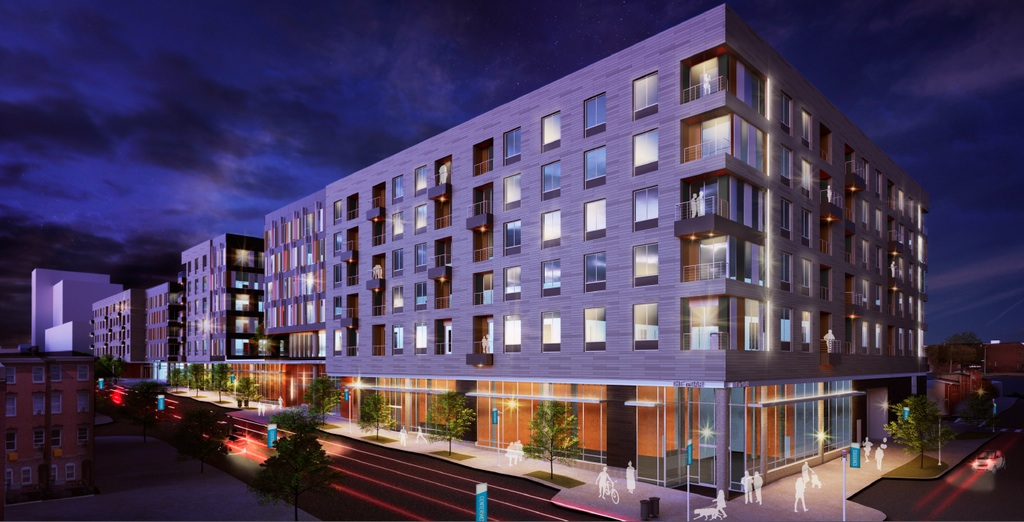 An artist's rendering of Phase 1A apartments for Poppleton, whose construction has been delayed. (Gensler, courtesy of La Cite)