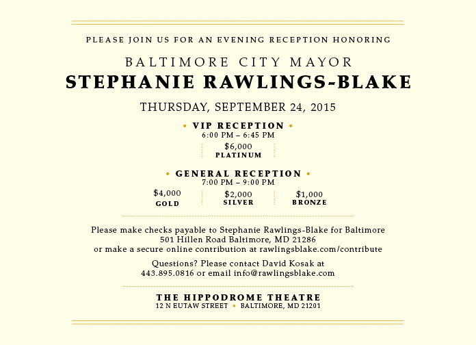 Calling in the deep pockets – an exclusive reception for the $6,000 club. (Stephanie Rawlings-Blake For Baltimore)