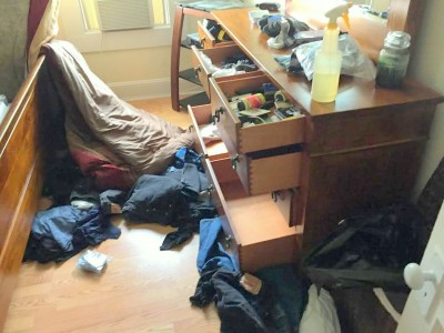 A room in Tom Culotta's house after a burglar ransacked it earlier this year. (Photo by Tom Culotta)