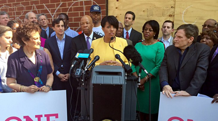 Mayor Rawlings-Blake announces the formation of OneBaltimore a week after the April riots, saying it will focus on a comprehensive and collaborative program to rebuild the city. (Mayor's Office, Mark Dennis)