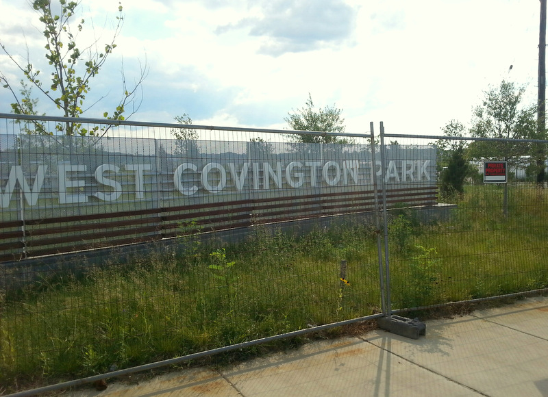 West Covington Park, is completed except for a few final finishes, but has been fenced off from the public. (Photo by Ed Gunts)