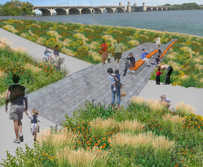 A diverse group of people are shown enjoying the use of waterfront park in this illustration by the park's designer. (Courtesy of Ayers Saint Gross)