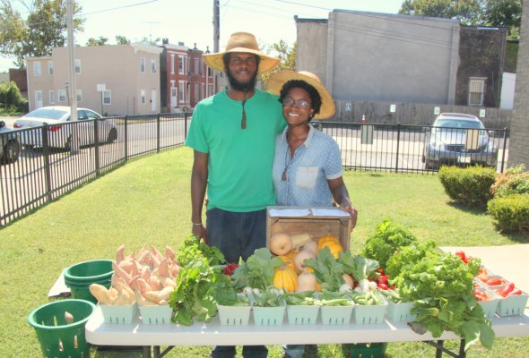 Blain Snipstal and Aleya Fraser, of Black Dirt Farm.  (Photo by Fern Shen)