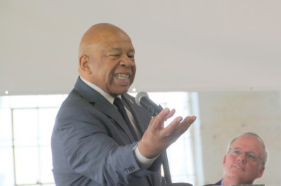 Rep. Elijah Cummings, speaking at Open Works' kick-off event. (Photo by Fern Shen)
