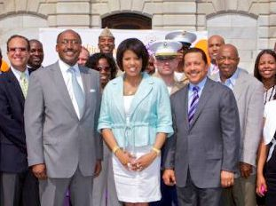 Mayor Stephanie Rawlings-Blake flanked by demolition contractor Pless Jones and financial backer and Grand Prix enabler J.P. Grant.