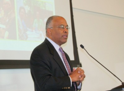 University of Baltimore School of law dean Kurt Schmoke welcomes Camp Wellstone. (Photo by Fern Shen)