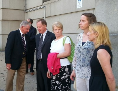 The Palermo family outside the courthouse after Cook's plea. (Photo by Ed Gunts)